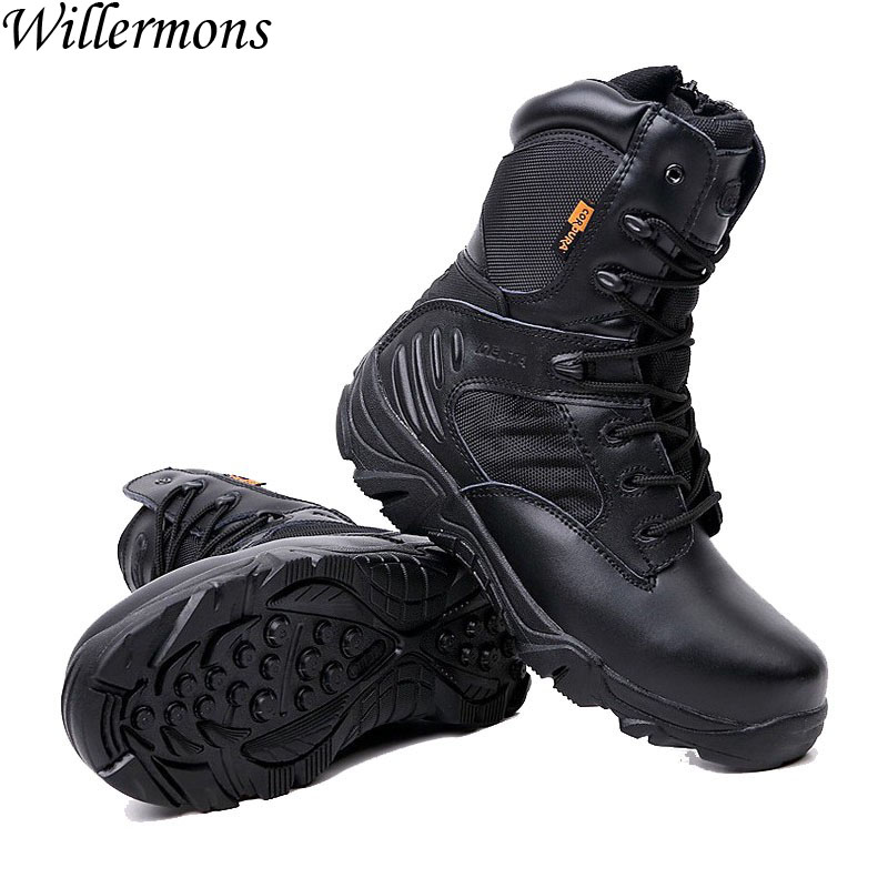 Autumn & Winter Men's Outdoor Warm Suede Military Combat Hiking Sneakers Shoes Men Army Tactical Trekking Boots Sports Shoes military men s outdoor cow suede leather tactical hiking shoes boots men army camping sports shoes