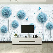 Modern Simple Blue Dandelion Butterfly Brick Mural Wallpaper Living Room TV Sofa Background Wall Home Decor Flowers Wallpaper 3D(China)