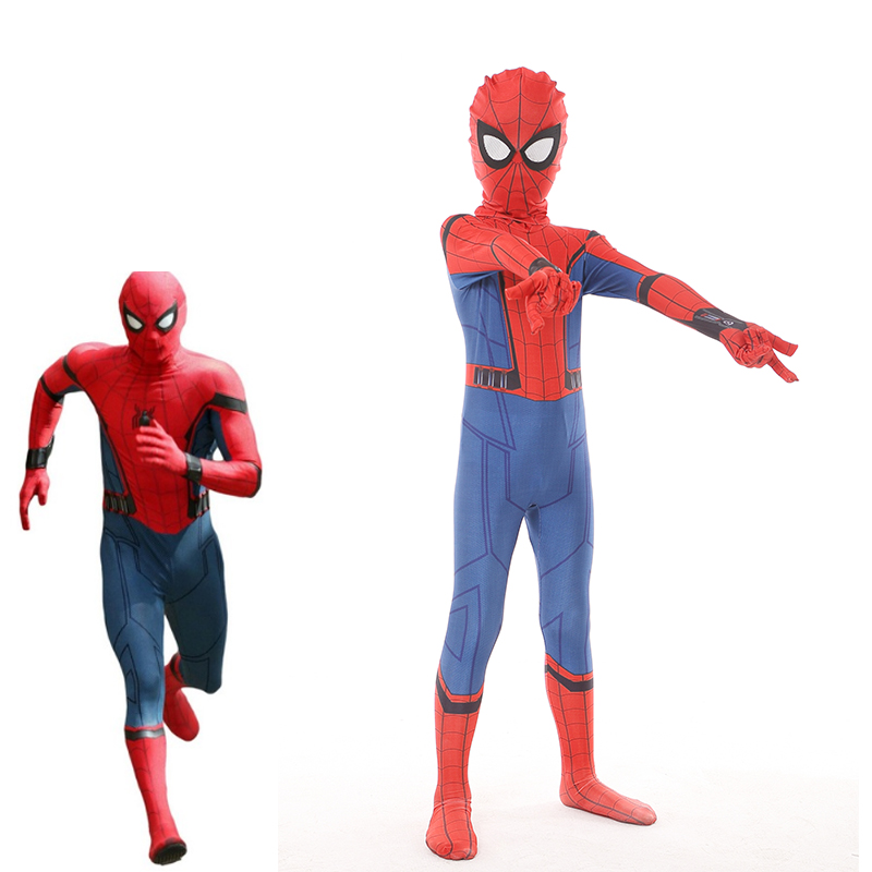 2017 Movie Spiderman Homecoming Cosplay Costume Kids 3D Printed Superhero Jumpsuit Red Halloween Carnival Marvel Zentai