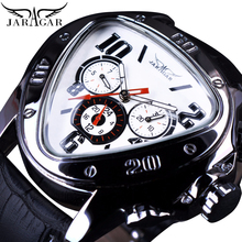 Jaragar Creative Triangle White Men Automatic Watch 3 Dials Fashion Speed Racing Car Sport Watches Mechanical Wristwatch Relojes