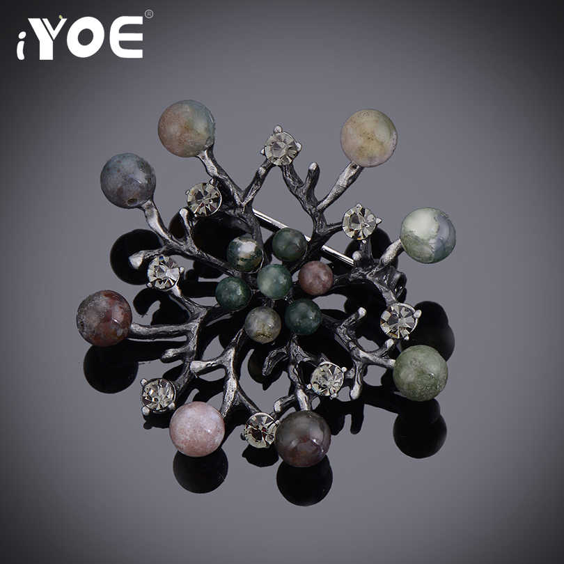 IYOE Elegant Multicolor Natural Stone Brooch Pins For Women Dress Vintage Scarf Brooches Antique Silver Color Jewelry