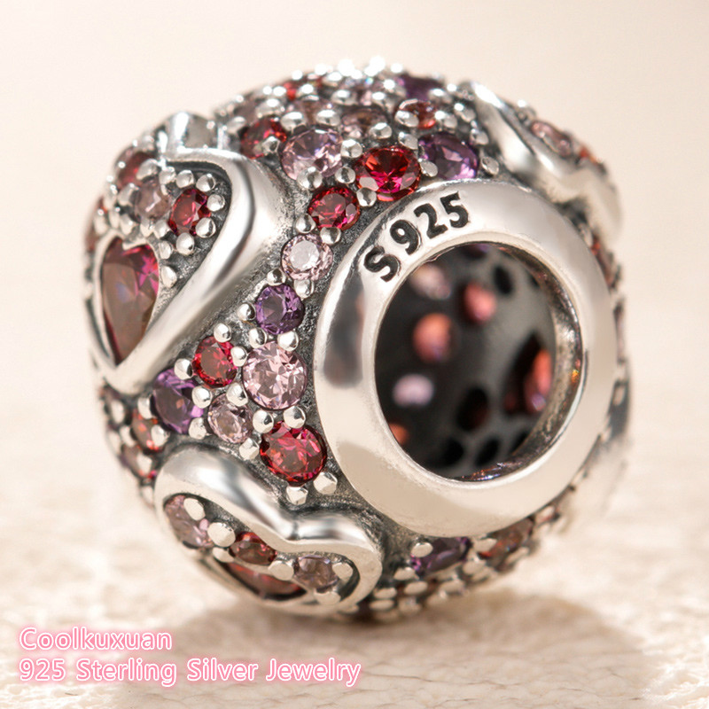Image 2 - 2019 Valentine's Day 100% 925 Sterling Silver Asymmetric Hearts of Love Charm, Red &Pink CZ Fit Original Pandora Charms Bracelet-in Beads from Jewelry & Accessories