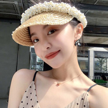 American Adjustable handmade pearl Beaded straw hat summer sunshade Topee lady temperament fashion