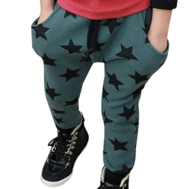2017 Autumn winter low price Toddler Boys Cotton Long Pants Stars Pattern Trousers Casual Bottoms