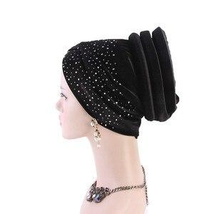 Image 4 - 女性ベルベットスパンコール hijabs 帽子イスラム教徒女性カバーインナーターバン帽子スカーフキャップターバン女性のヘアアクセサリー