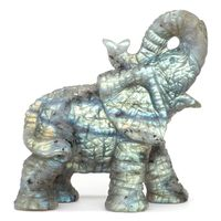 Elephant Statue Natural Gemstone Labradorite Crystal Healing Home Decor 3.11