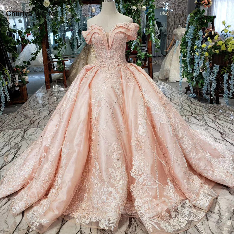 HTL154G2 pink bride dress party brush train off shoulder sweetheart crystal lace evening gown dresses kleider damen abendkleid