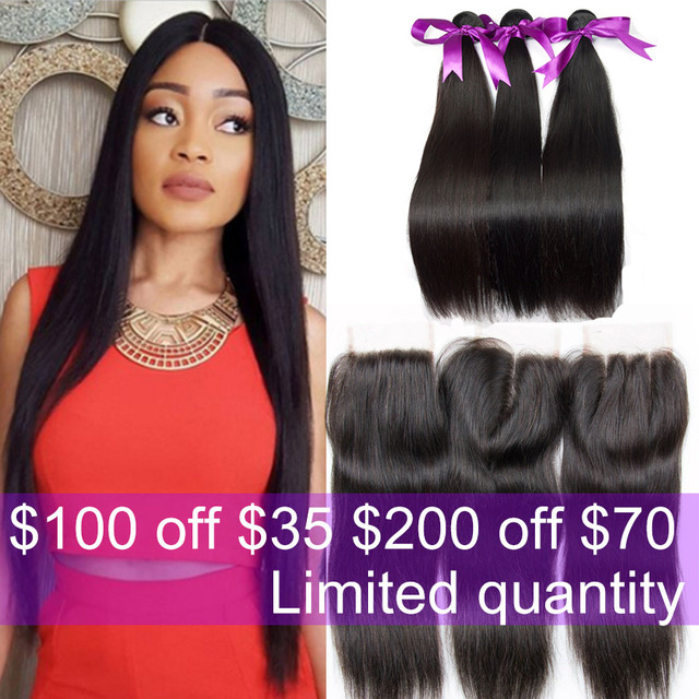 Alimoda Brazilian Virgin Hair With Closure Brazilian Straight Hair With Closure 3/4 Bundles Human Hair Weaves With Closure Sale