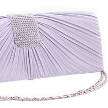 Wholesale5*NEW WOMEN SATIN DIAMANTE LADIES PLEATED WEDDING BRIDAL PROM HANDBAG CLUTCH BAG SILVER