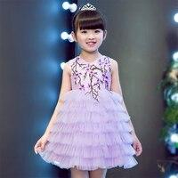 2017 Korean Luxury Children Girls Birthday Wedding Party Princess Layers Dresses Kids Purple Mesh Costume Children