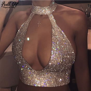Sexy V neck Metal Crystal Diamond Women Sequins Tank Top Summer Beach Halter Camis Bralette Womens Nightclub Party Crop Tops New women v neck sexy holographic bralette crop top strap reflective fashion camis hot summer 2019 sleeveless backless tank tops
