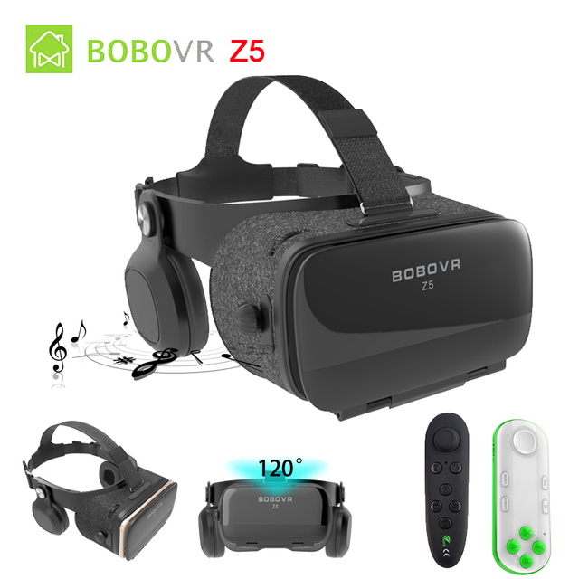 BOBOVR Z4 Update BOBO VR Z5 120 FOV 3D Cardboard Helmet Virtual Reality Glasses Headset Stereo Box for 4.7-6.2' Mobile Phone     5