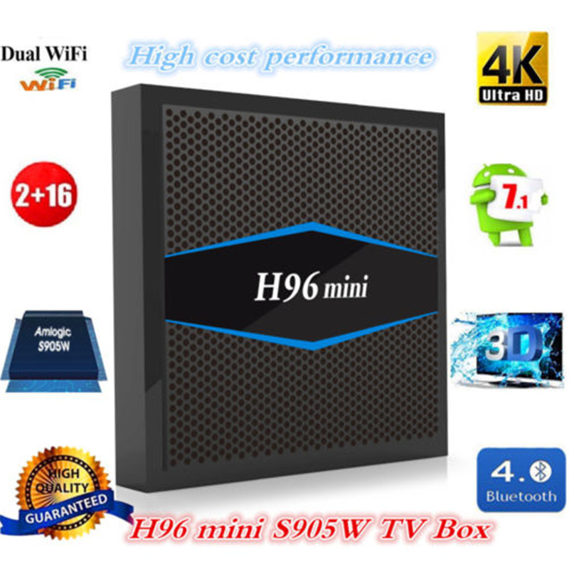 AKASO Super H96 mini TV Box Android 7.1 2GB 16GB Smart TV Box 2.4G/5G Wifi Bluetooth 4.0 h96mini s905w 4K HD Media Player