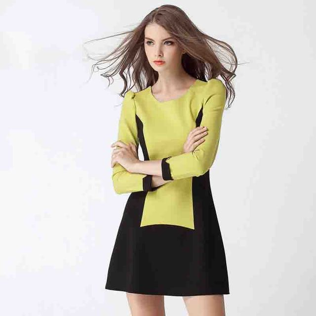 Vestido De Festa Vestido New Natural Worsted None 2014 Hot Sale Women Dress Autumn Long Sleeve Slim Fit Pure Color Free Shipping