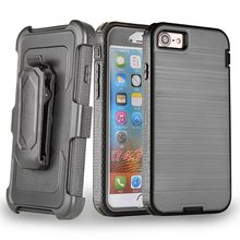 Shockproof Phone Case For iPhone 7 Hybrid Rugged Armor Brushed Hard Back Cover+Belt Clip Holster Kickstand Heavy Duty Protection