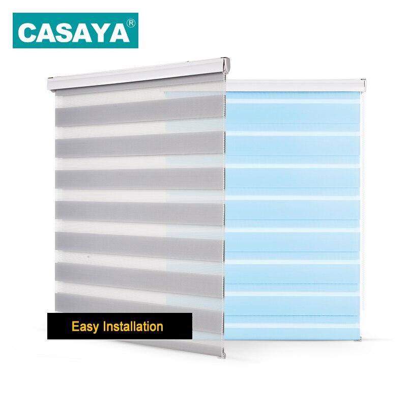 Sistema de cenefa de concha, persianas de cebra transparentes, doble capa, persianas enrollables de ventana de sombreado ligero para sala de estar, dormitorio, estudio
