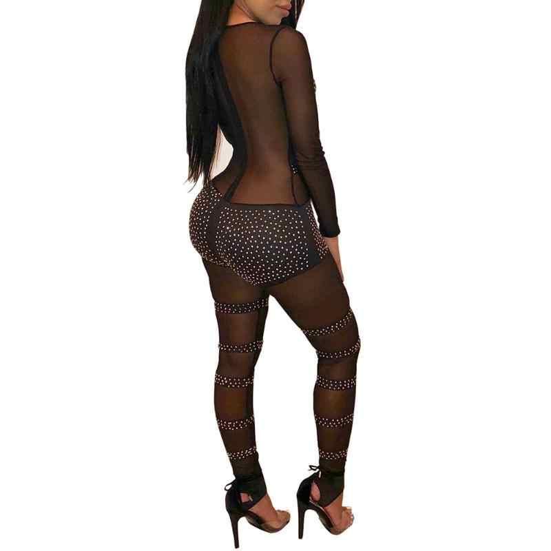 Популярный женский эластичный сексуальный комбинезон со стразами сетчатый лоскутный длинный рукав облегающий круглый вырез черный комбинезон боди
