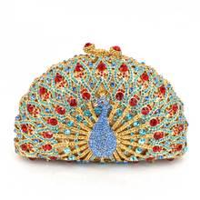 Frauen Pfau Diamant Verzierte Luxus Tageskupplungen Vintage Abendtasche Hochzeit Geldbörse damen Bling Bankett Tasche als geschenk Q32