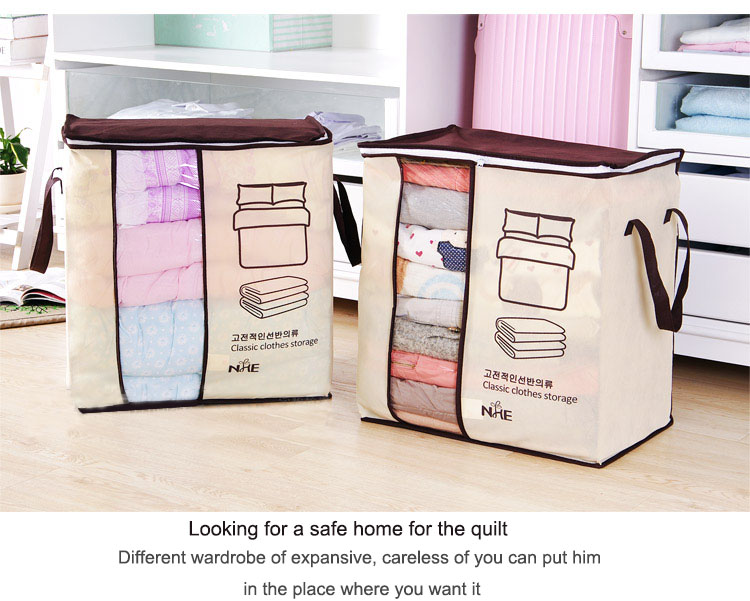 2018 new Non-woven Portable Clothes Storage Bag Organizer 45.5*51*29cm Folding Closet Organizer For Pillow Quilt Blanket Bedding 17
