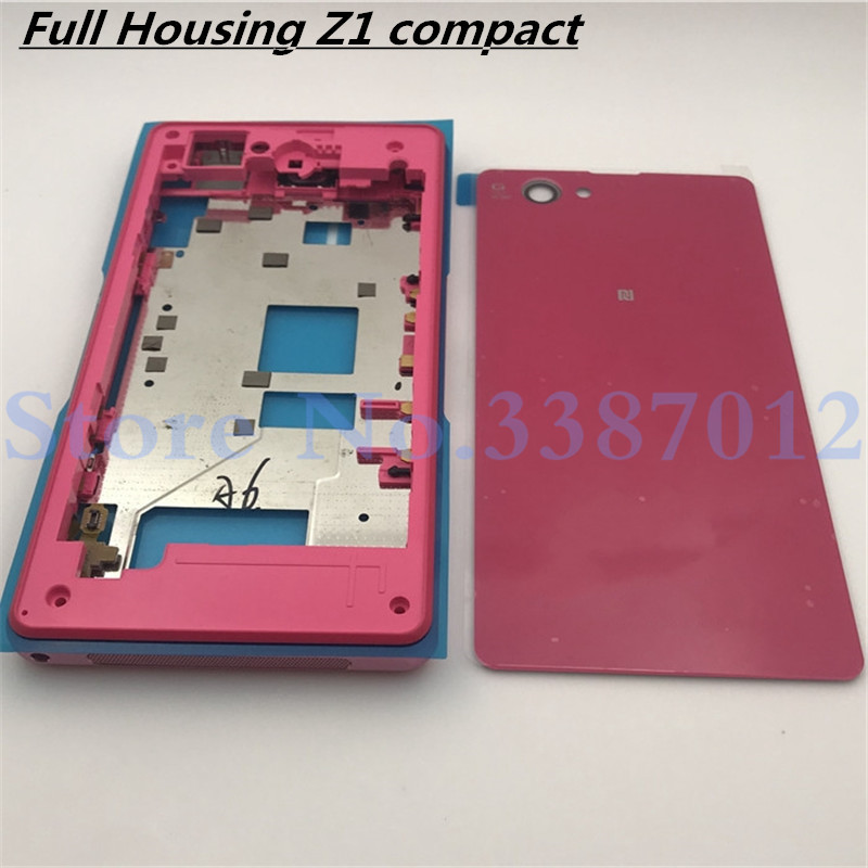 Original Full Housing For Sony Xperia Z1 Compact Mini D5503 Front Middle Frame Port Plug Cover Back Battery Cover