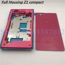 מקורי מלא דיור עבור Sony Xperia Z1 קומפקטי מיני D5503 קדמי התיכון מסגרת יציאת תקע כיסוי אחורי סוללה כיסוי