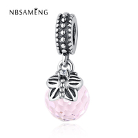 Authentic 925 Sterling Silver Bead Charms Pink Glass Murano Pendants DIY Beads Fit Pandora Bracelets & Bangles Necklace Jewelry