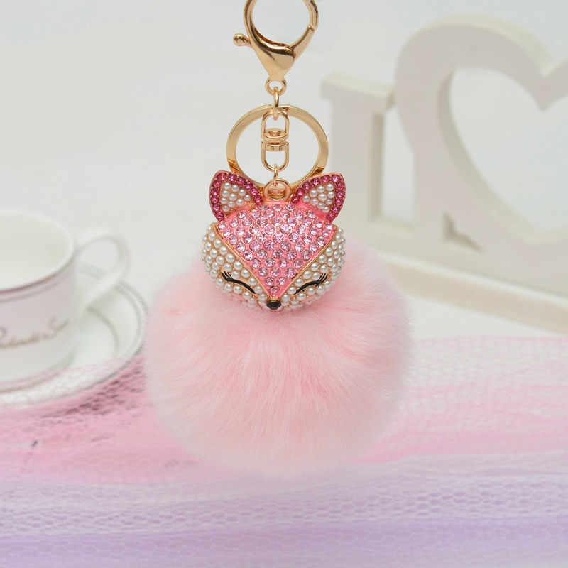 Wiwjygz брелок с искусственным кроличьим мехом для сумочки брелок для ключей для автомобиля милый Лисий инкрустация имитация жемчуга кулон брелки Потрясающие