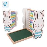 Drewniane zabawki dla dzieci cartoon królik kształt 10 obliczenie frame tablica wykorzystanie dwustronne pomoce dydaktyczne wczesne dzieci zabawki edukacyjne