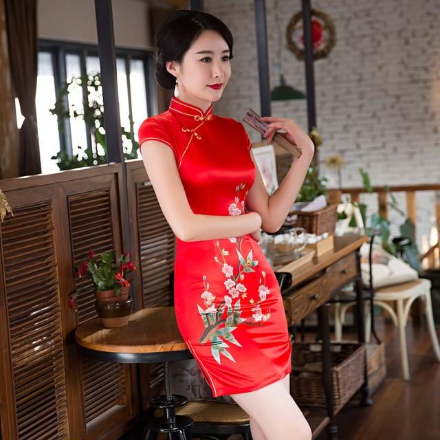 0322bc63480d High Fashion Women 2017 Print Chinese Traditional Dress Half Sleeve  Cheongsam Qipao Short Chinese Oriental Dresses S M L XL XXL
