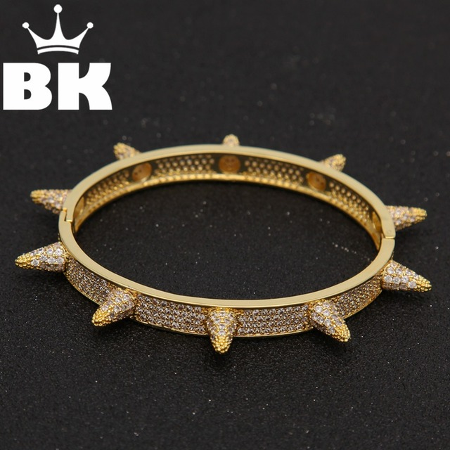 Fashion Hip Hop Jewelry Barbed Wire Gold Color Cuff Bangle Copper Zircon Twist Thorns Bracelets For