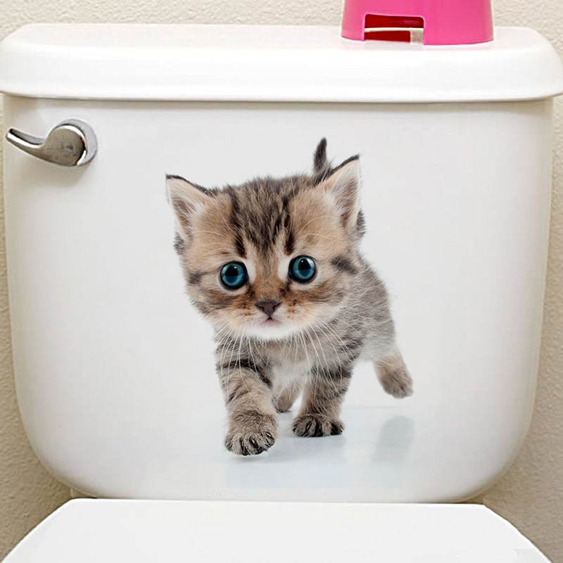 3D Toilet Stickers Cat Dog Wall Sticker Bathroom Bedroom Animal Decals Home Decoration Art Poster J2Y