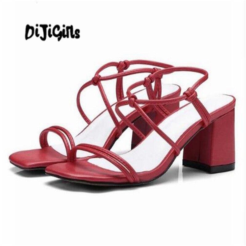 DIJIGIRLS 2018 sandals women open toe handmade high quality women thick high heel gladiator model daily wear summer mules wwd women s wear daily 2012 11 26