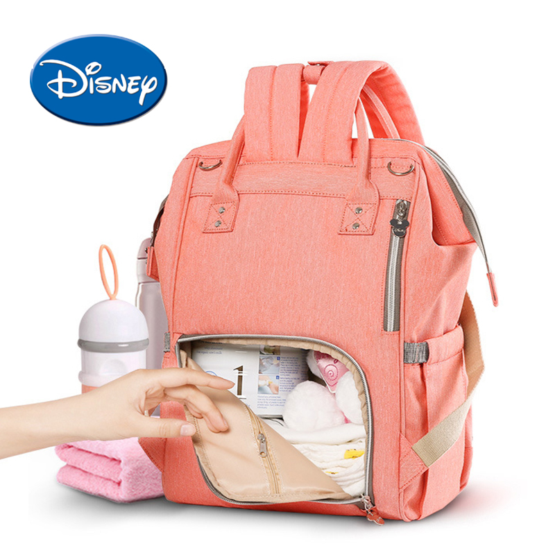 Disney USB Heating Diaper Bag Maternity Nappy Backpack Large Capacity Nursing Travel Backpack Heat Preservation ...