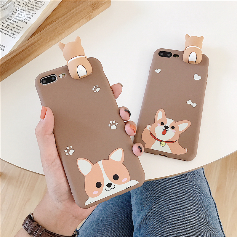 Welsh Corgi Dog Case For iPhone 7 Cases Ultrathin Cartoon Puppy Soft TPU Toy Case for iPhone 6 6s 7 8 Plus X XR XS Max Cover in Fitted Cases from Cellphones Telecommunications