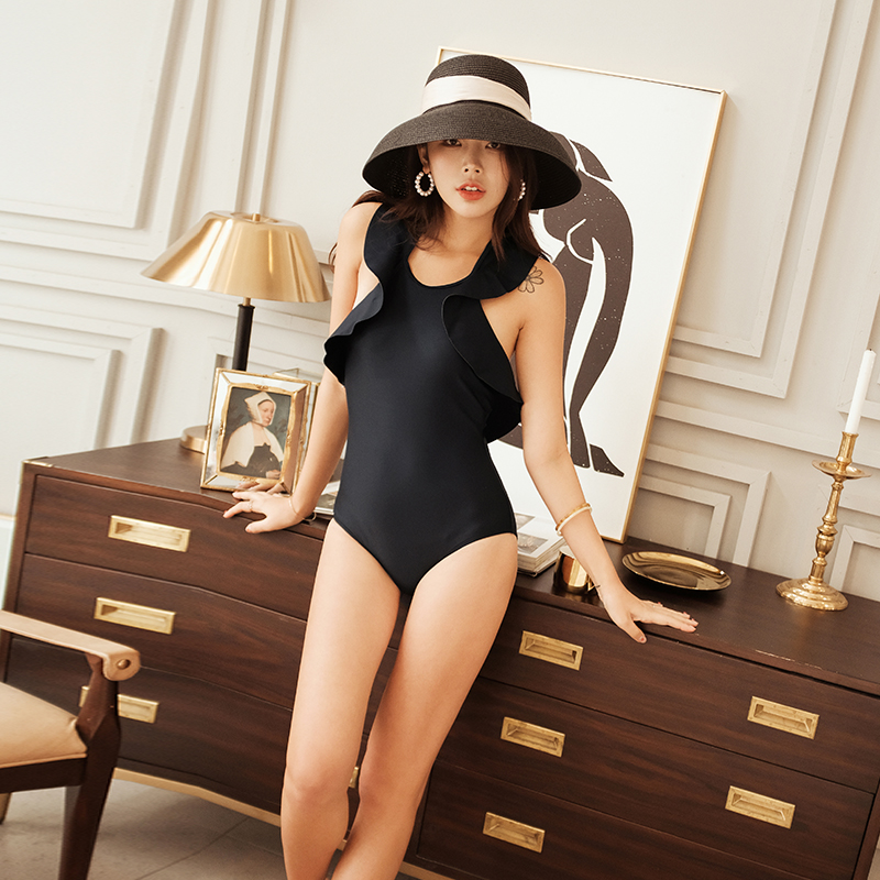 Bikini 2019 New Style Sexy Women Swimsuit Black Flouncing Swimming Suit Summer Mujer Big Backless Bandage Halter Bathing Suit in Body Suits from Sports Entertainment