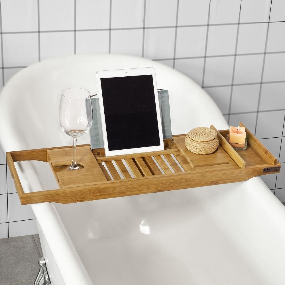 Sobuy frg251 n foldable bamboo bathtub rack caddy tray with book ...