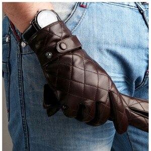 Image 3 - Guantes de piel auténtica Lisa para hombre, guantes de piel de oveja a la moda, de terciopelo, para invierno térmico, M020NC, 2020