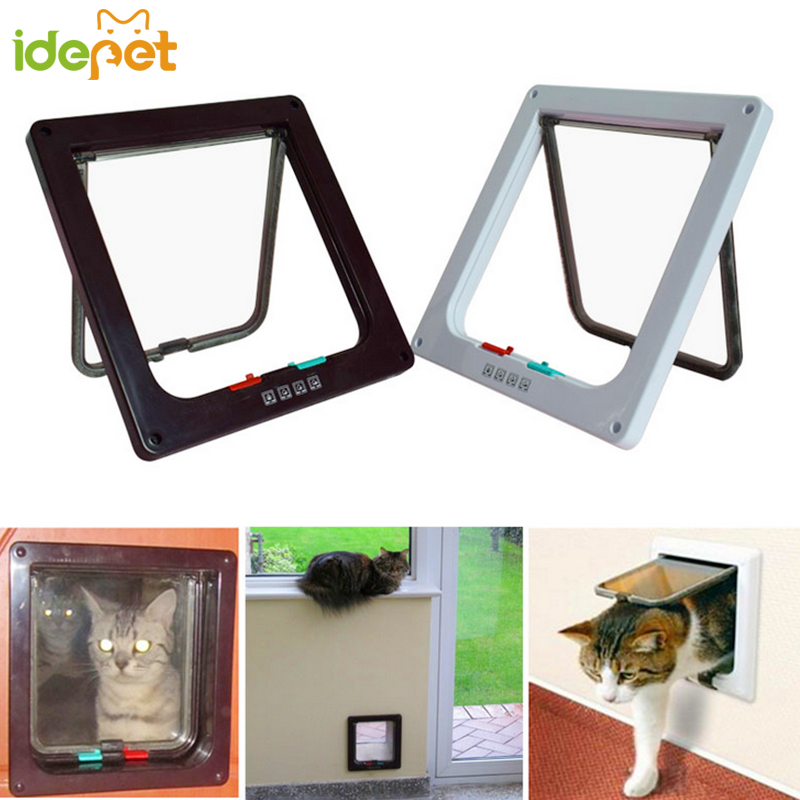 4 Ways Pet Cat Supplies Magnetic Lock Lockable Safe Flap Door 1 Pcs For Small Animal White Brown Cat Gates Cat Toys 3d35