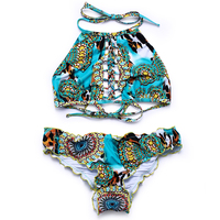 BANDEA 2017 New Sexy Floral Print Bikinis Swimwear Women High Neck Swimsuit Holow Out Beachwear Lace