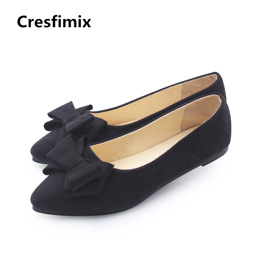Cresfimix women fashion high quality flock bow tie flat shoes lady cute comfortable spring & summer slip on flats zapatos a452 ribetrini 2018 top quality slik upper crystals slip on spring summer shoes women flats comfortable date easy for walking