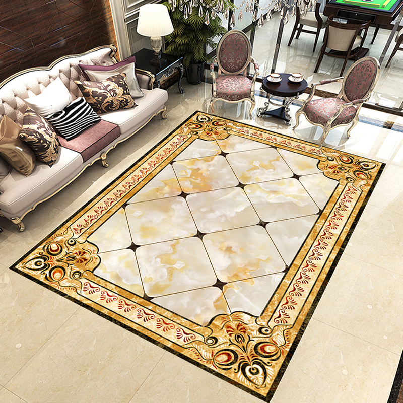 Self-adhesive Vinyl 3D Flooring PVC Waterproof Wallpaper European Style Living Room Hall Floor Decor Sticker Custom Wall Mural