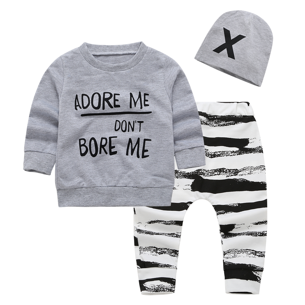 f28c6708f 2019 new autumn baby boy clothing set Long sleeve letter T shirt +pants  2pcs sport