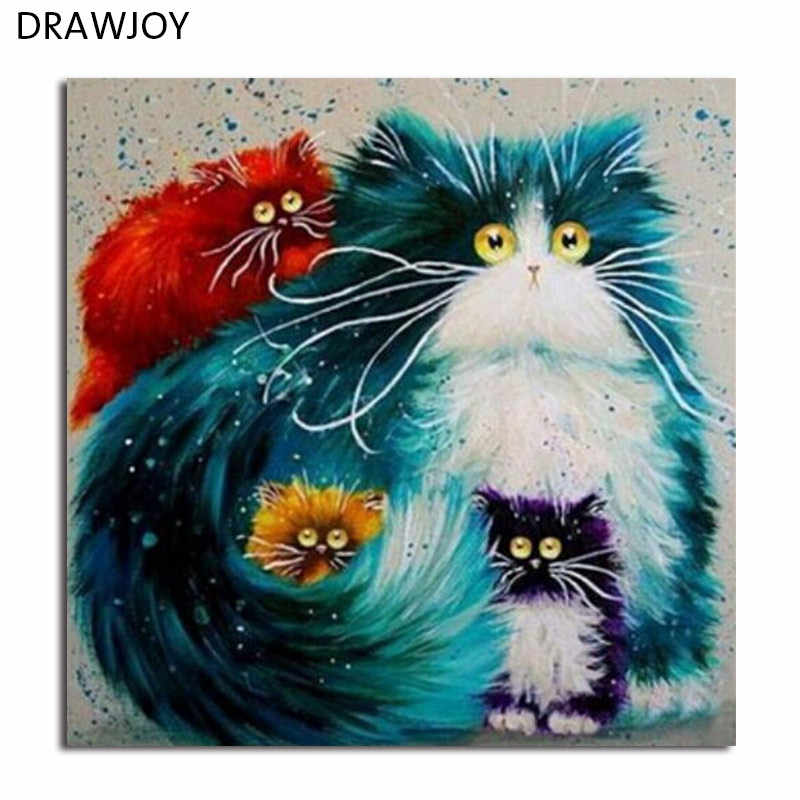 DRAWJOY Cat Framed Pictures DIY Oil Painting By Numbers Painting&Calligraphy Home Decoration Wall Art GX3805 40*50cm