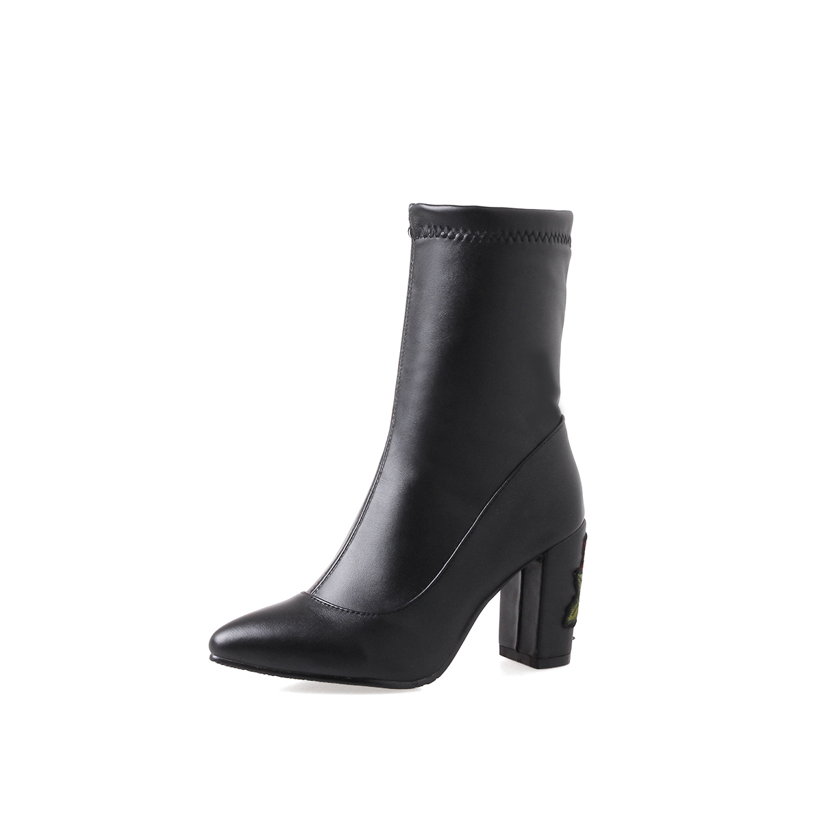 NEW sexy women ankle boots rose thick high heels boots women poined toe shoes woman spring autumn boots woman large size 34-43