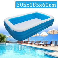 Kids inflatable Pool 305x185x60cm Children's Home Use Paddling Pool Large Size Inflatable Square Swimming Pool Heat Preservation
