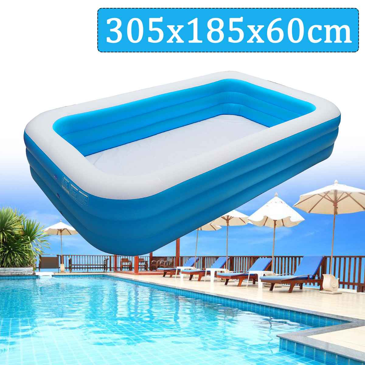 Kids inflatable Pool 305x185x60cm Childrens Home Use Paddling Pool Large Size Inflatable Square Swimming Pool Heat PreservationKids inflatable Pool 305x185x60cm Childrens Home Use Paddling Pool Large Size Inflatable Square Swimming Pool Heat Preservation