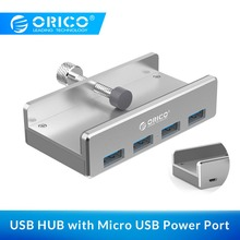 ORICO USB HUB External 4 Port USB Splitter with Micro USB Power Port for Laptop Computer Aluminum Alloy USB3.0 HUB with Cable orico du3d bk usb 3 0 to dvi external graphics for computer screen extention black
