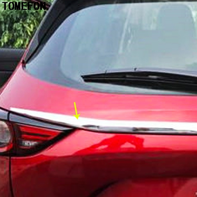 TOMEFON For Mazda CX-5 CX5 2017 2018 ABS Chrome Rear Trunk Lid Cover Trim Frame Stiker Auto Accessories styling 2Pcs