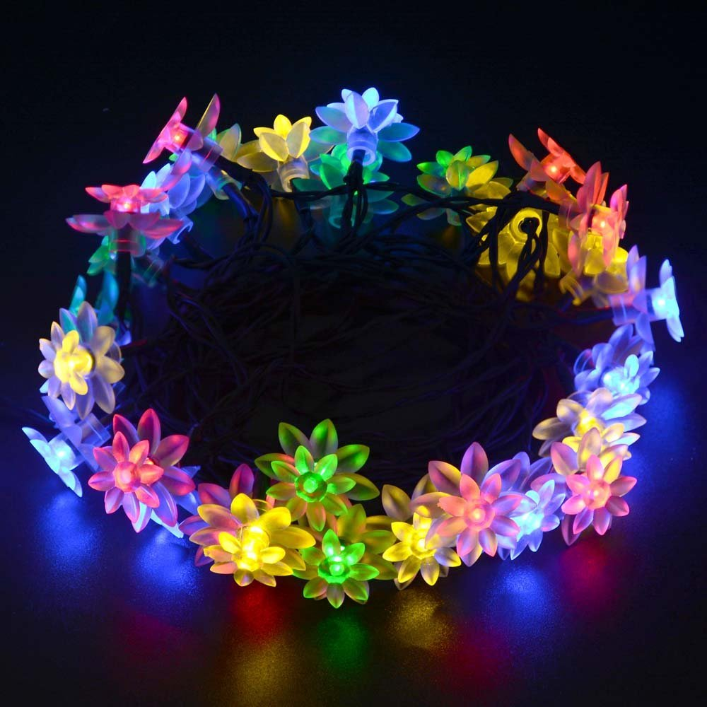 Solar outdoor string lights 6m 30 led lotus flower solar powered solar outdoor string lights 6m 30 led lotus flower solar powered fairy lights for garden fence path landscape decoration in solar lamps from lights aloadofball Image collections