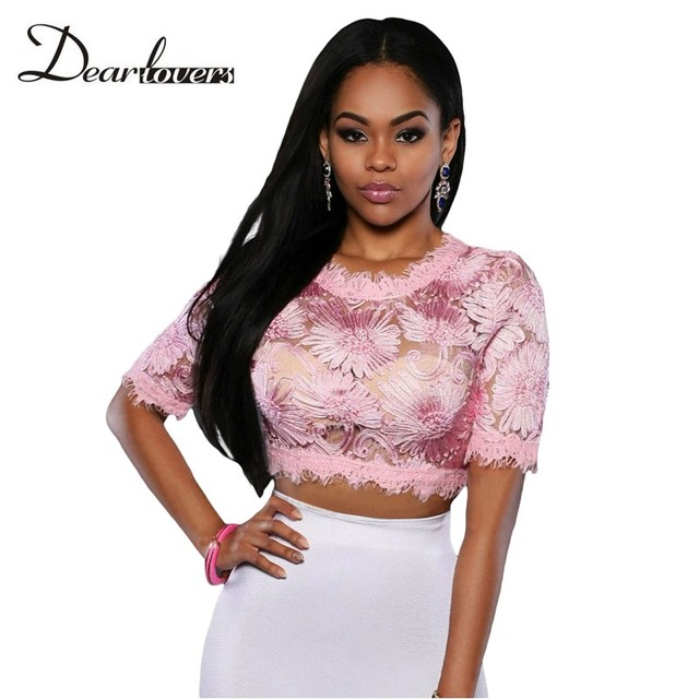 Dear lovers tops de verano 2017 de color rosa bebé/del bebé azul/verde menta floral bordado recortada tops para mujeres camiseta mujer lc25821